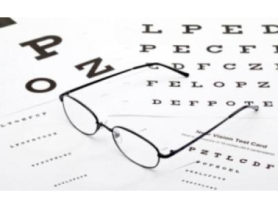 Glasses with eye test chart