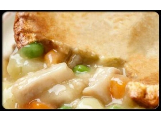 A slice of chicken pot pie.