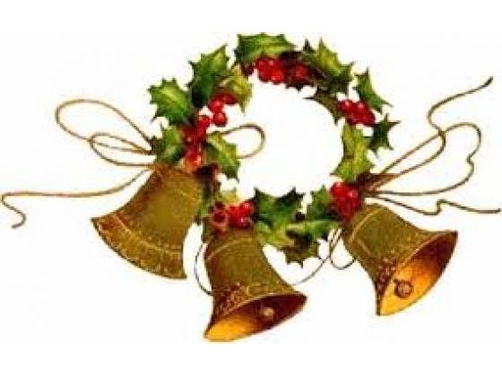 Three beautiful golden Christmas bells.