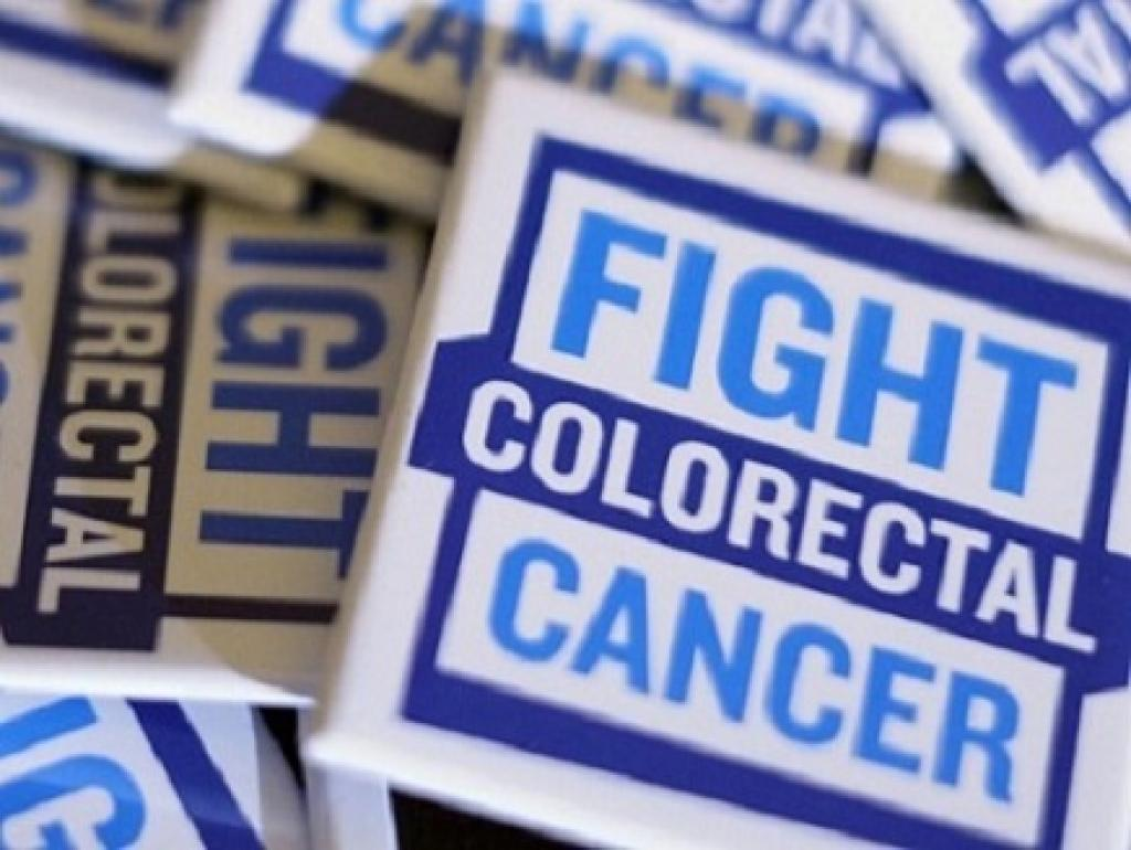 Sign displaying Fight colorectal cancer