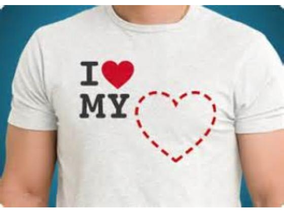 Guy in T shirt with heart image and script I love my heart