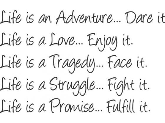 Verse life is an adventure
