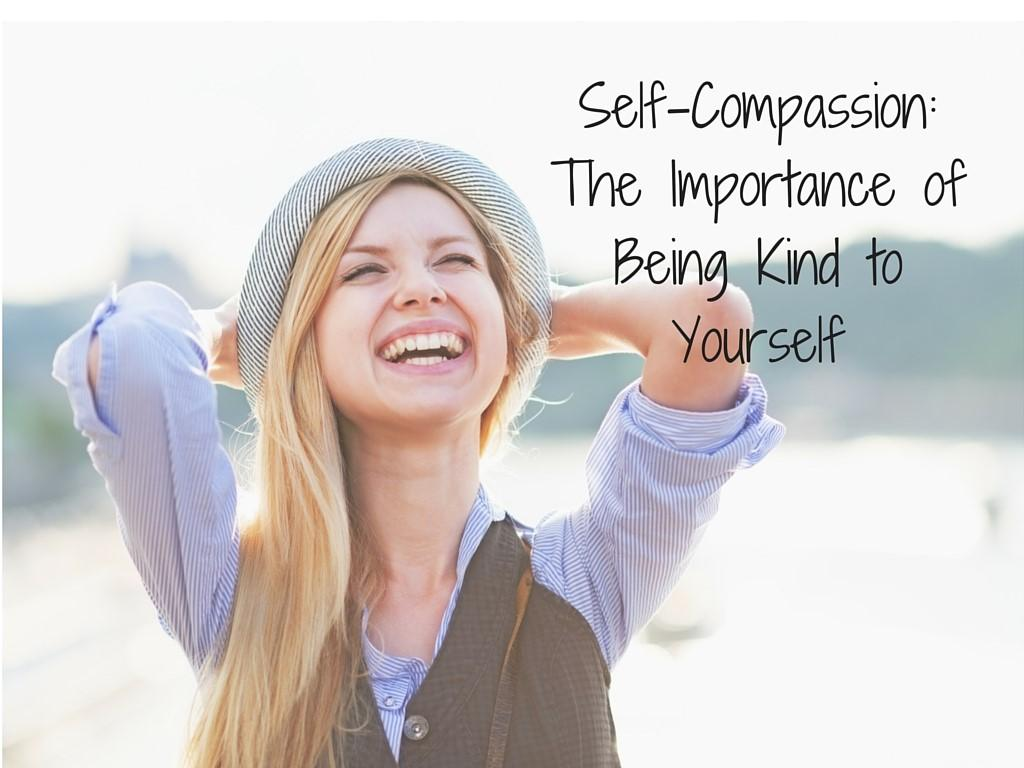 Smiling young woman saying be kind o yourself