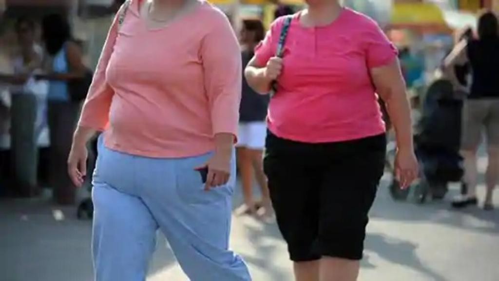 Two obese women walking