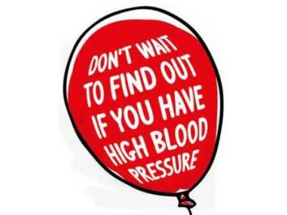 Balloon with the words warning against high blood pressure.