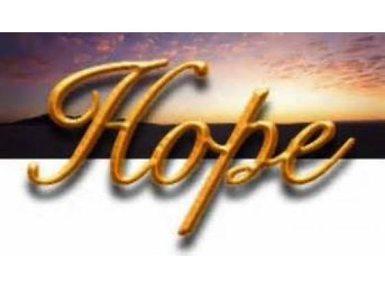 A sign with the word Hope