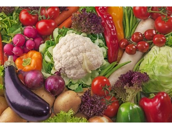 Tray with fresh healthy looking vegetables