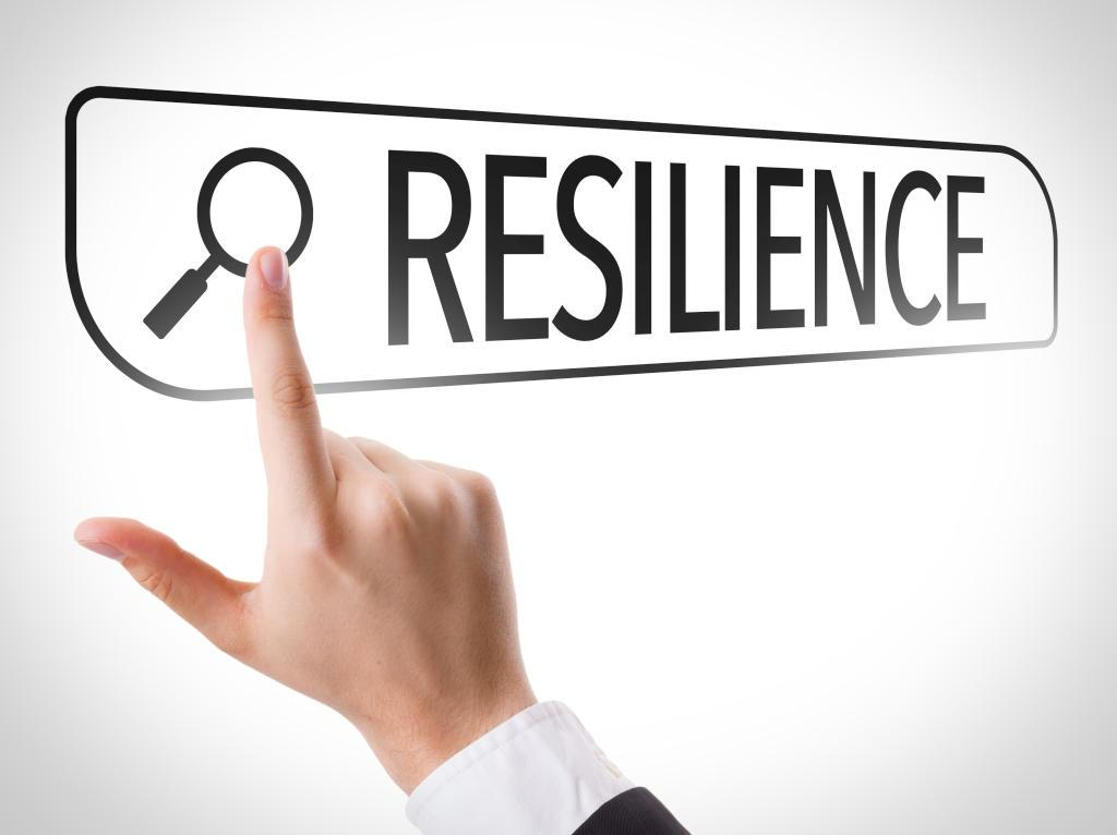 Man searching for the word resilient on website