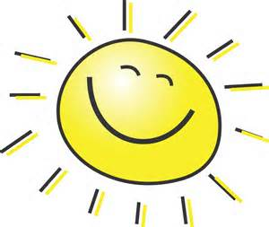 Child-like drawing of the sun smiling.
