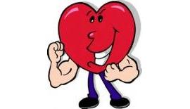 Cartoon of a heart flexing muscles.