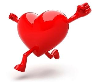 Carton of a heart running.