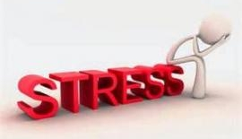 A person pushing away stress.